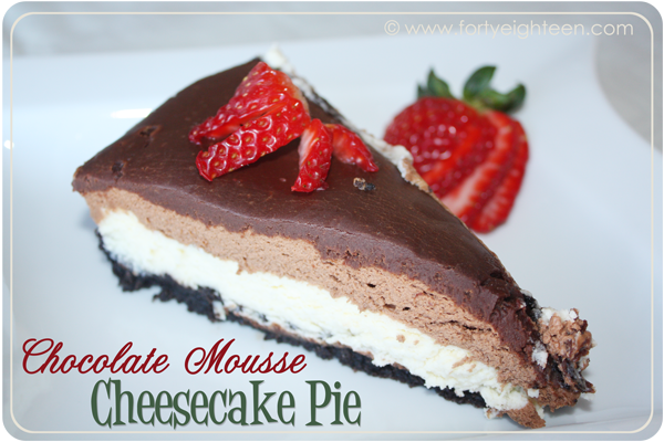 Chocolate desserts including this Chocolate Mousse Cheesecake Pie at Forty Eighteen