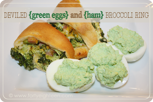 A fun twist on Green Eggs and Ham to celebrate Dr. Seuss day with Deviled {Green Eggs} and {Ham} Broccoli Ring! from FortyEighteen.com #drseuss