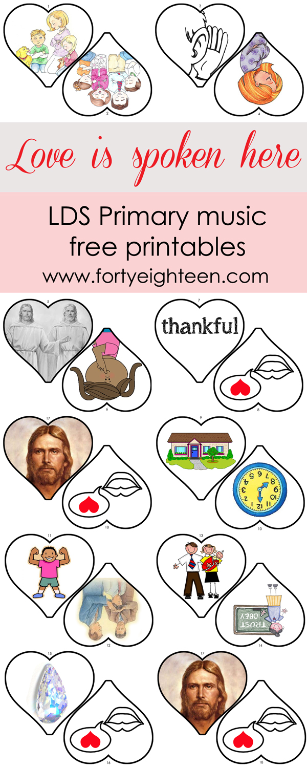 It's so easy to teach Love is Spoken Here to the primary kids with these cute {FREE} printables from FortyEighteen.com