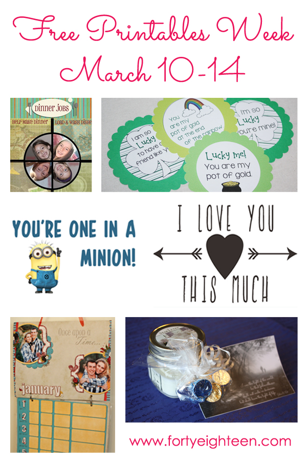 A week of fabulous #free #printables at fortyeighteen.com
