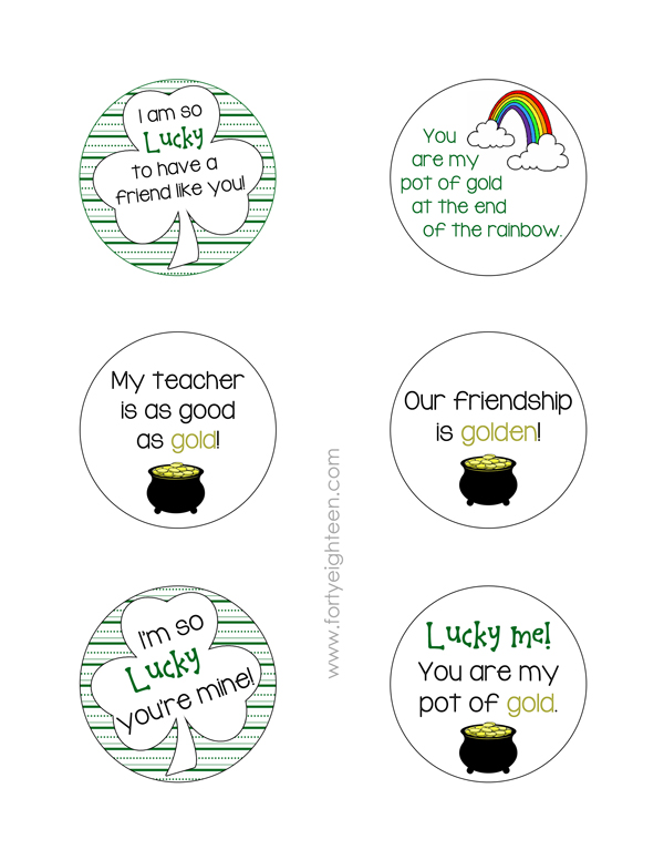 These cute notes are perfect for St. Patty's Day treats for friends, teachers, kids, and anyone else!