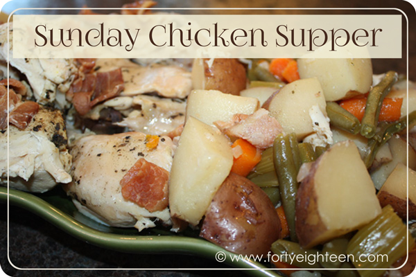 Crock Pot Chicken comfort food with veggies and bacon = the PERFECT Sunday meal