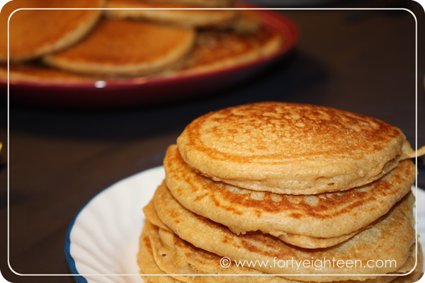 wheThese whole wheat butermilk pancakes are to die for, and the caramel syrup makes them even better!