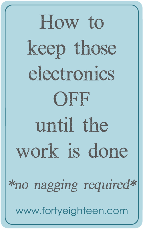 Get the kids to finish their work before turning on the electronics with no nagging required? Count me in!