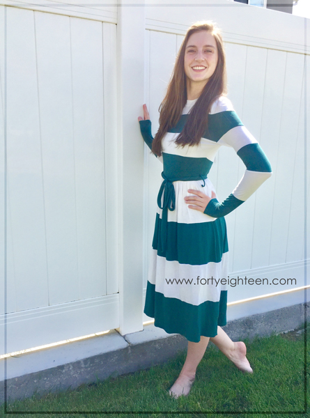 This dress is darling, modest, a great price, and even ships for free!